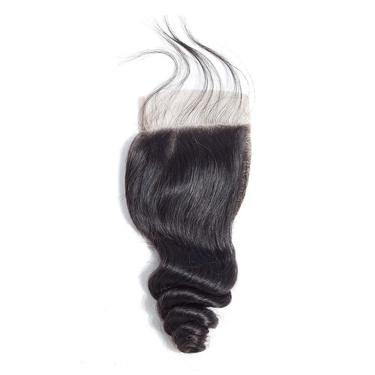フィードオン連帯に渡ってかつら レースの閉鎖ブラジルの緩い波の髪4×4インチの自由な部分の閉鎖リアル人間の髪の毛の自然な色の長い巻き毛のかつら (色 : 黒, サイズ : 20 inch)