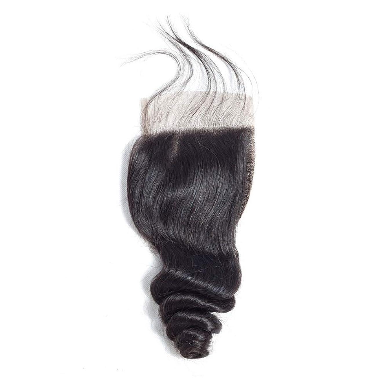 鹿吸う明らかHOHYLLYA フリーパート4 * 4レース前頭閉鎖ブラジルルースウェーブ人間の髪の毛の閉鎖(8インチ-20インチ)長い巻き毛のかつら (色 : 黒, サイズ : 20 inch)