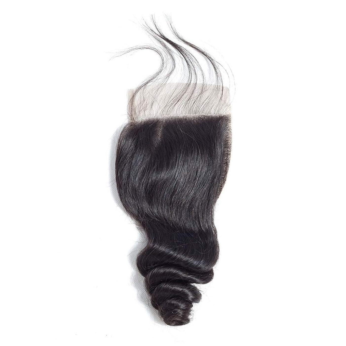 法廷前提条件洗うBOBIDYEE レースの閉鎖ブラジルの緩い波の髪4×4インチの自由な部分の閉鎖リアル人間の髪の毛の自然な色の長い巻き毛のかつら (色 : 黒, サイズ : 20 inch)
