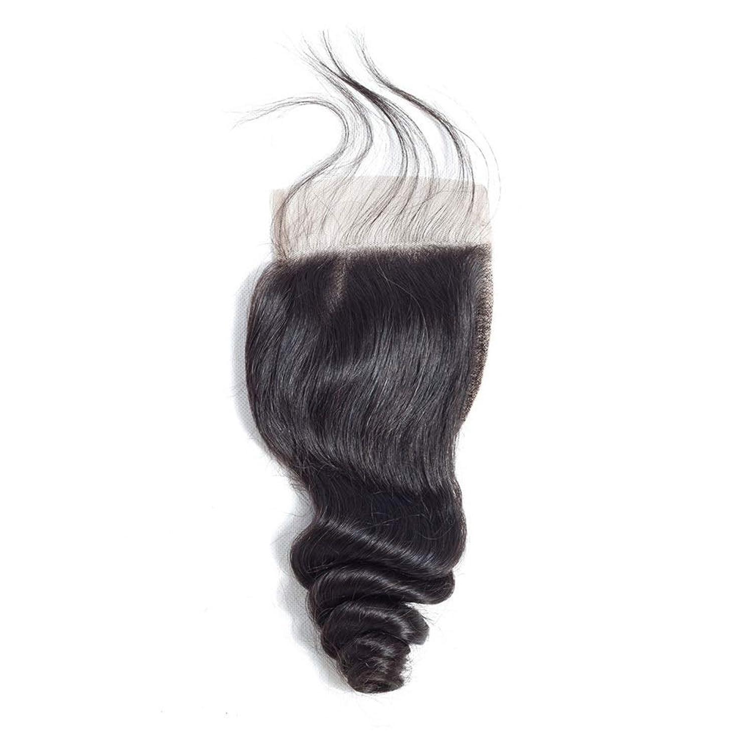 短命マークされた民主党HOHYLLYA レースの閉鎖ブラジルの緩い波の髪4×4インチの自由な部分の閉鎖リアル人間の髪の毛の自然な色の長い巻き毛のかつら (色 : 黒, サイズ : 20 inch)