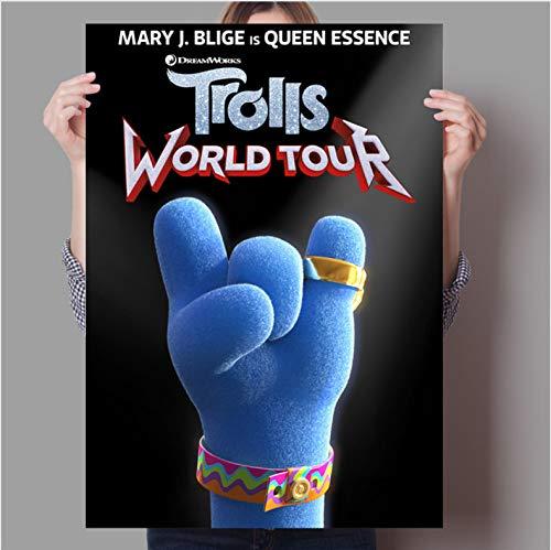 PCCASEWIND Rahmenlose Malerei,Fantasy Song Und Tanz Anime Troll World Tour Konzert Home Wand Kinderzimmer Dekorative Kunst Poster 50X70Cm,A-1199