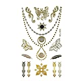 Wrapables pequeñas metálico Oro y Plata Tatuajes Temporales Pegatinas, Charmed, Small