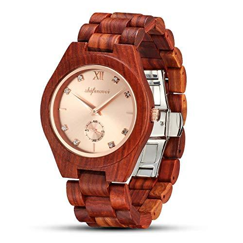 shifenmei Holzuhren für Damen, Holzuhren Japanisches Uhrwerk Leichte analoge Quarz Holzarmband Handmade Business Luxuriöse Frauen Holzuhren (RedSandal-Rosegold)