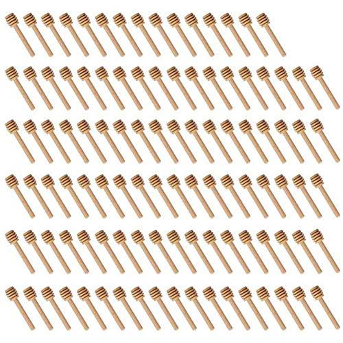 Renquen - Lote de 100 palitos de madera para miel, para dispensador de tarros de miel, miel, recuerdos de boda