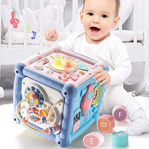Jouet multifonctionnel hexaédrique pour enfants Tambour à main pour bébé Bureau Bureau Early Learning Music Learning Table