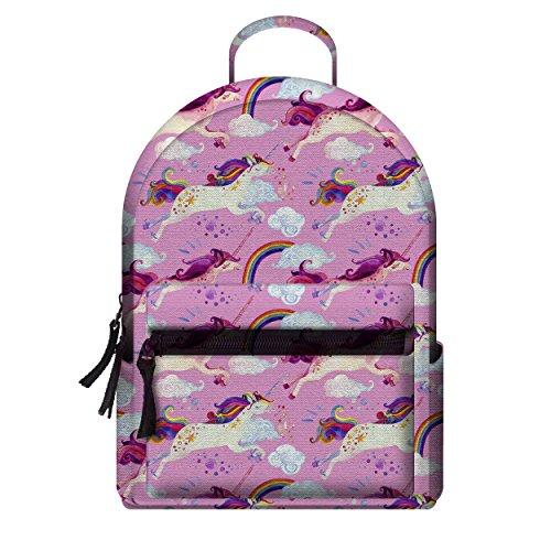 Fringoo Girls Teenagers Mini Backpack Fashion Miniature Bag Printed Travel Pouch Hand Luggage (H24 x W20 x D11 cm, Unicorn Pink Sky - Mini)