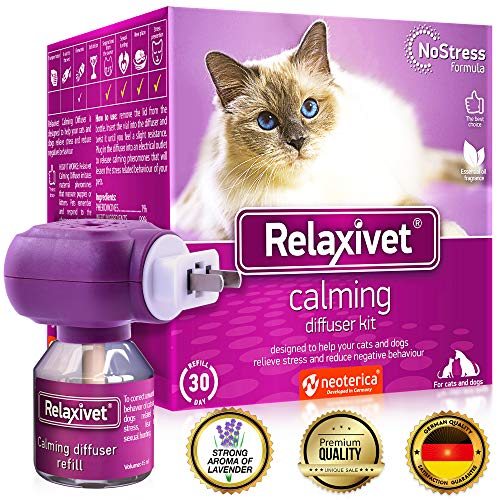 Relaxivet Cat Calming Pheromone Diffuser Kit - Improved No-Stress Formula - Anti-Anxiety Calm Treatment #1 for Cats and Dogs with a Long-Lasting Relax Effect (Diffuser + Refill)