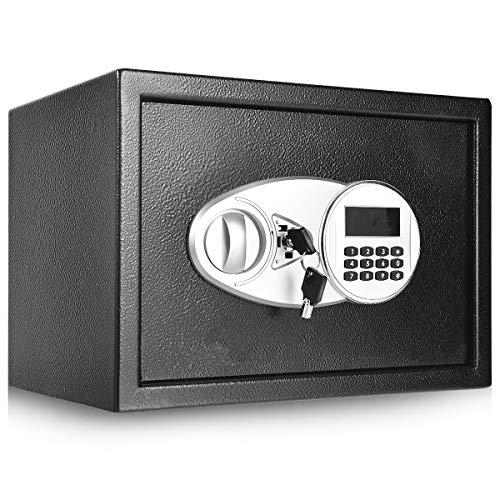 COSTWAY Tresor schwarz, Schranktresor Doppelbolzenverriegelung, Möbeltresor, Elektronischer Safe, Schranksafe 2-stöckig