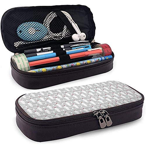 Bowling pin federmäppchen pu leder große kapazität bleistift tasche make-up stift tasche langlebig studenten schreibwaren