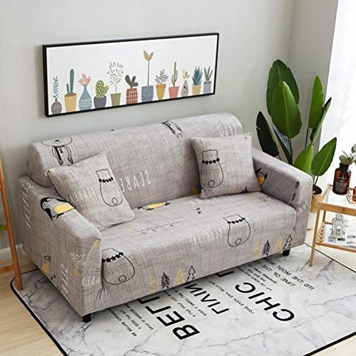 INFANDW Schonbezug Sofahusse, Stretch-Stoff, Couch-Bezug, Sofa-Möbelschutz, kompletter Bezug maschinenwaschbar(grau, 2 Sitzer: 145-185cm)