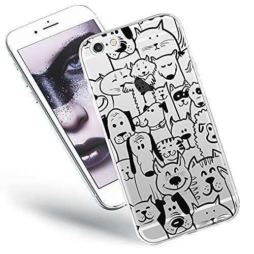 Bumper compatible pour iPhone 6s, coque iPhone 6 transparente silicone avec motif souple etui soft case ultra slim fine cover animaux (jetable).