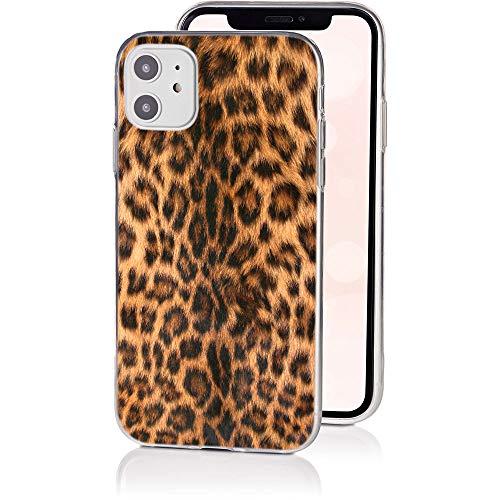 QULT Handyhülle kompatibel mit iPhone 11 Hülle dünn Slim Bumper Silikon Schutzhülle durchsichtig Case mit Motiv Leopard