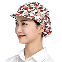 Maifunn 衛生キャップ 1枚セット キッチン 衛生帽 給食帽 工場 通気性 髪 いちご柄 布 派手 肌触り レディース 女性用 MZ8011-Strawberry 1