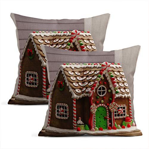 Meowjoy - Set di 2 federe per cuscino in lino con stampa di pan di zenzero, stile semplice, per auto, divano, camera da letto, decorazione per la casa, idea regalo per familiari e amici, 45 x 45 cm