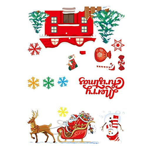 Copercn Creative Christmas Window Glass Sticker Decoration Electrostatic Paste Decals Holiday Ideal for House Outdoor Christmas Bar Family Party Decor Perfect Christmas Gift for Children (D)