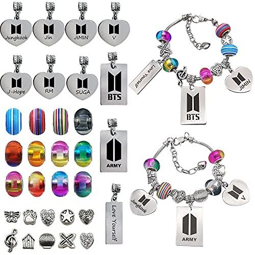 Kpop BTS Merchandise Charm Bracelet Making Kit, 34 Pcs DIY Bracelets Kit with Beads for Army Gifts