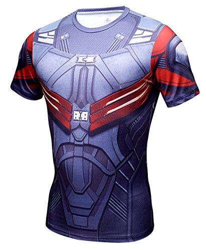 A. M. Sport Camiseta Fitness Compresion Hombre con Dibujos de Superheroes para...