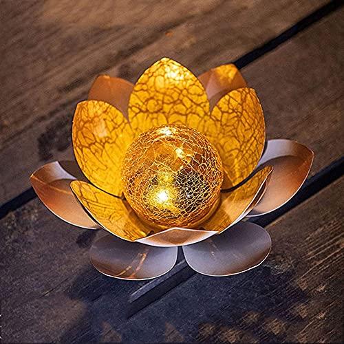 Luz de noche de flor flotante de loto con luz solar, linternas solares LED al aire libre para el hogar, jardín, estanque,piscina, boda, patio, decoración, lámpara colgante, decoración de jardín,20 cm