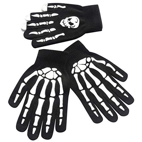 LQQSTORE Handschuhe Herren Skull Bone Skeleton Goth Racing Rutschfest Sports Vollfinger Handschuhe B