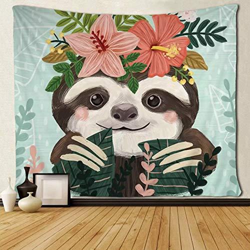 N/A Impresión 3D de tapices Hippie Art Funny Sloth Love Tapices de Flores Colgante de Pared Pared decoración del hogar Manta Dormitorio decoración Pared 130 CM X 150 CM