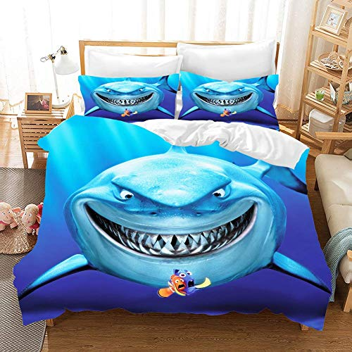 332 Duvet Cover Sets 3D Shark Printing Child Adult Bedding Set 100% Polyester Gift Duvet Cover 3 Pieces With 2 Pillowcases B-GB Double79*79'(200 * 200cm)