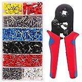 Kinstecks Pinza Crimpatrice Kit 0,25-10 mm² / AWG23-10 Strumento di crimpatura per cavi a cricchetto autoregolabile con kit di ghiere per cavi 1200 pezzi 22-10AWG 8 dimensioni