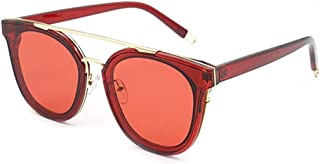 Fashion Personalized Color Glasses UV400 Protection Unisex Square Frame Sunglasses Retro (Color : Red)