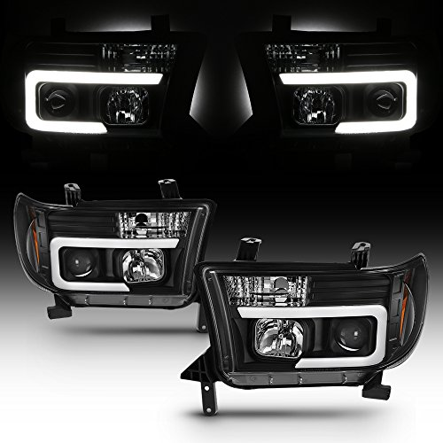 For Toyota Tundra Sequoia LED DRL Light Tube Black Projector Replacement Headlights Left/Right Lamps