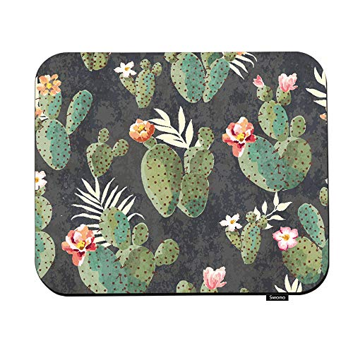 Swono Desert Mouse Pads Vintage Desert Tropical Cactus Painting Pattern Mouse Pad for Laptop Funny Non-Slip Gaming Mouse Pad for Office Home Travel Mouse Mat 7.9'X9.5'