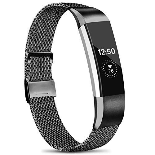 Amzpas Kompatible Für Fitbit Alta HR Armband/Fitbit Alta Armband, Metall Edelstahl Ersatzarmband Kompatibel mit Fitbit Alta HR/Fitbit Alta (S, 03 Schwarz)
