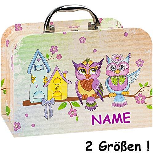 alles-meine.de GmbH 2 TLG. Set _ Kinderkoffer / Koffer / Kofferset - in 2 verschiedenen GRÖßen - Eule & Vogelhaus - incl. Name - Kofferset - für Spielzeug und als Geldgeschenk - ..