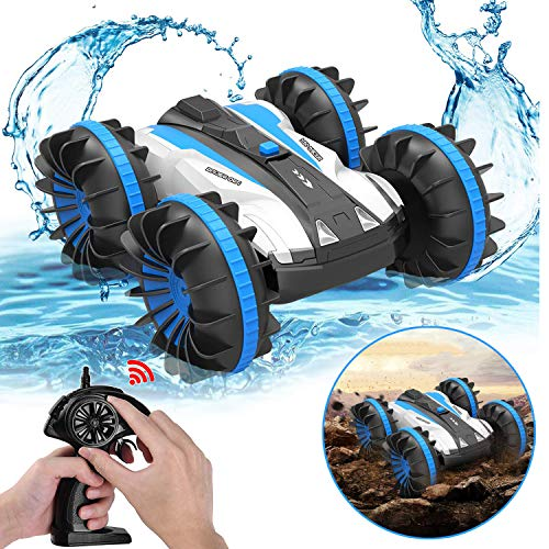 Pussan Car Toys for 5-12 Year Old Boys Amphibious Remote Control Car for Kids 2.4 GHz RC Stunt Car for Boys Girls 4WD Off Road Monster Truck Christmas Birthday Gifts Remote Control Boat Beach Toy