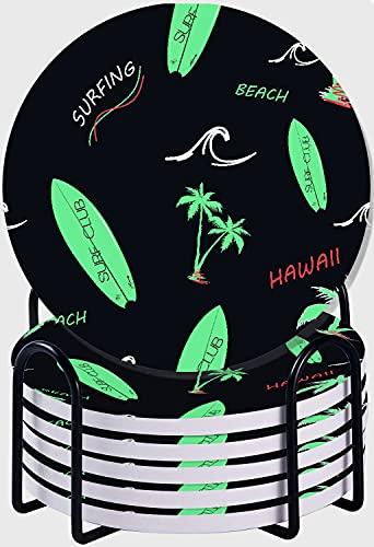 CIKYOWAY Posavasos para Bebidas,Tabla de Surf Hawaii Surfing Pattern Tropical Beach Juego de 6 Posavasos absorbentes con Soporte de Metal/Fondo de Corcho,para Casa Restaurante Y Bar
