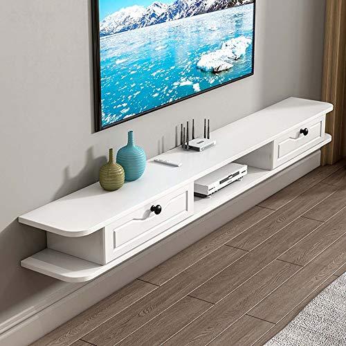 Brooke shop Mueble de TV flotante, soporte para estante de entretenimiento, receptor, caja de cable, consola de video, mueble de TV montado en la pared con partición flotante/D / 140×24×