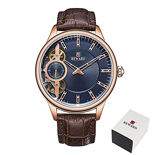 Relojes mecánicos para hombre Tourbillon automático Reloj de cuarzo para hombre de cuero casual de negocios CXSD (color marrón azul)