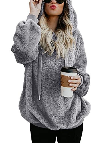 Century Star Womens Hoodies Fuzzy Hooded Sweatshirt Zipper Fleece Hoodie Pullover Sherpa Sweater Fluffy Coat Grey Medium