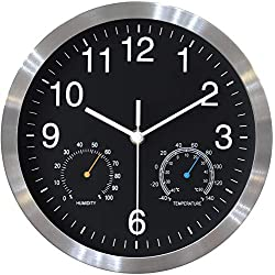 ETAAW Silent Non-Ticking Wall Clocks Battery Operated,10 inch Excellent Accurate Sweep Movement Wall Clock with Thermometer and Hygrometer,Decorative for Kitchen,Living Room,Bathroom,Office-Black