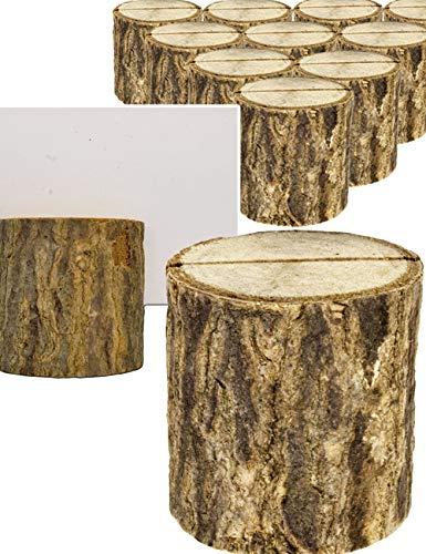 HomeTools.eu® - 10x Karten-Halter, Baum-Stämmchen, Speise-Karten, Namens-Schild, Visiten-Karten, Hochzeit, Buffet, Visitenkarten-Halter, echt Holz, 3 x 3.5 cm, 10er Set