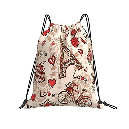 Mochila con patrón de torre de París con cordón para deporte, gimnasio, senderismo, yoga, natación, viajes, playa, para mujeres y hombres