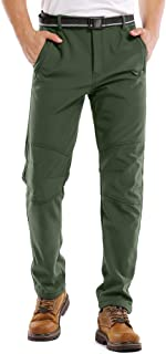 Waterproof Pants Mens, Hiking Snow Ski Fleece Lined Insulated Soft Shell Winter Pants with Belt