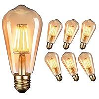 💡【Exquisites Retro-Glühbirne】- Diese klassisches LED Vintage Glühbirne mit wunderschönen LED Filamenten und besonderen Hochwertiges Braunglas, rundum 270-Grad-Licht. exquisites und einzigartiges design mit warm Licht, liefert ein gemütliches und beha...