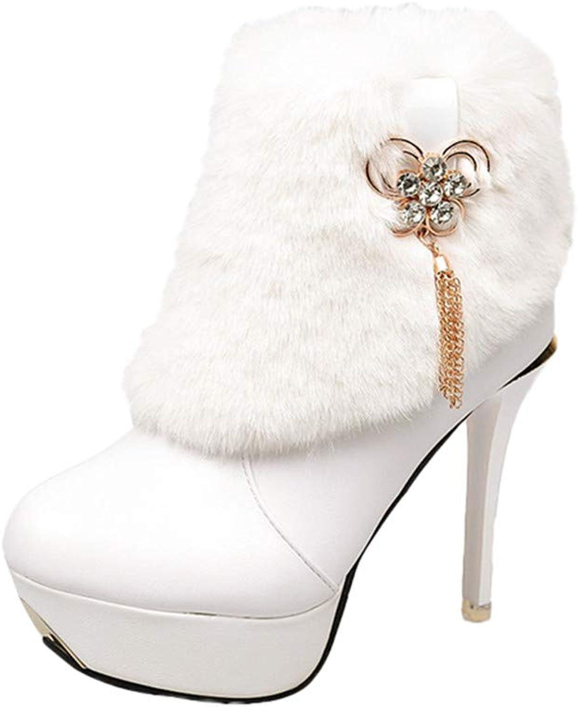 Women's Round Toe Fine Heel Ankle Booties, Rhinestone Butterfly Pendant Chain Warm Non-Slip Plush shoes