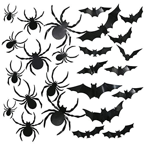Halloween Decoration Spider Bat 3D 96 PCS Halloween Ornaments Stickers Scary Bats (Black)