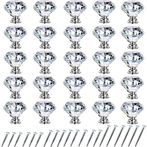 Mejor Drawer Knob Pull Handle Crystal Glass Diamond Shape Cabinet Drawer Pulls Cupboard Knobs with Screws for Home Office Cabinet Cupboard Bonus Silver Screws DIY (10 Pieces) crítica 2020