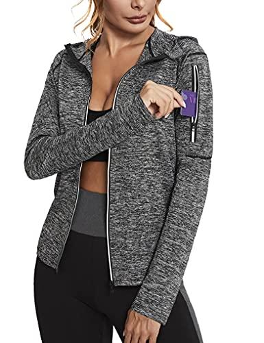 Sykooria Frauen Sportjacke Yoga Laufjacke Slim Fit Trainingsjacke Kapuzenjacke Damen