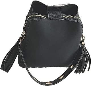 Fashion Scrub Women Vintage Bucket Retro Tassel Messenger Shoulder Cross body Tote Bag With Big Capacity
