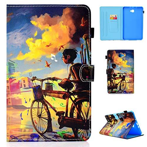 Lspcase Samsung Tab A 10.1 Hülle, Schutzhülle PU Leder Hülle - mit Automatischem Schlaf & Stand Funktion Magnetverschluss Handytasche für Samsung Galaxy Tab A 10.1 Zoll T580 / T594 Eindrucksmalerei