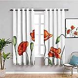 JNWVU Opacas Cortinas Dormitorio - Blanco Amapola Flor Simple - Impresión 3D Aislantes de Frío y Calor 90% Opacas Cortinas - 234 x 137 cm - Salon Cocina Habitacion Niño Moderna Decorativa