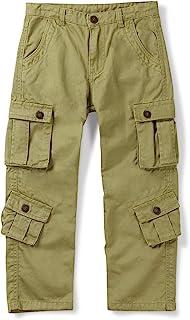 Aeslech Pantalones de carga militares de algodón para niños, 8 bolsillos casuales al aire libre