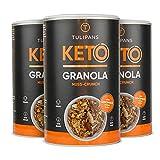 Tulipans Keto Nuss-Crunch Granola - Low Carb Knuspermüsli   3 x 250 g   80% weniger Kohlenhydrathe als herkömmliche Müslis   vegan   unterstützt ketogene Ernährung